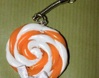 Pacifier and bow with polymer clay keychain