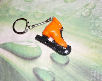 Polymer clay ice skate keychain