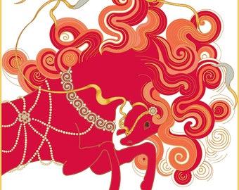 "Scarf ""Red horse"" silk 90x90"
