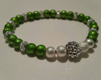 6mm Green/Silver Gemstone