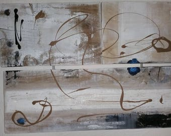 """contemporary painting on wood """"musical flight"""""""