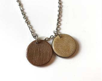 Wood charm necklace