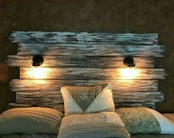 Rustic Headboard with lights