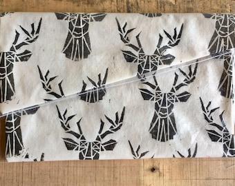 Doe a Deer- Linoprinted Clutch