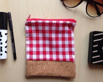 Red and white gingham Pocket