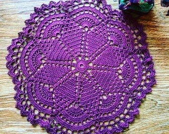 Crochet purple doily Lace round crochet tablecloth Crochet table centrepiece Handmade doily Round doily Home decor