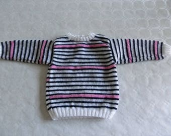 sweater with stripes of white, blue, Navy and pink 12 month