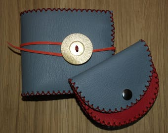 """purse and """"long"""" light blue leather checkbook cover"""