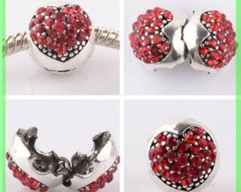 Pearl N957 clip stopper European blocker rhinestones for charms bracelet