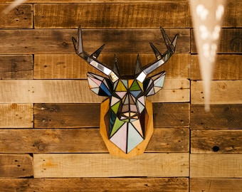 """Sconce head trophy """"Deer"""" from stained glass. Decor for interior."""