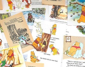Winnie the Pooh scrapbook pack lucky inc Disney. 25 sheets vintage scrap paper ephemera for album, junk journal, smash book, collage, craft