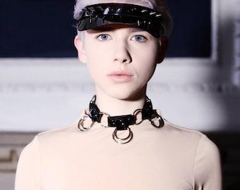 Noir Gladiatrix Choker - Black PVC Choker - plastic necklace
