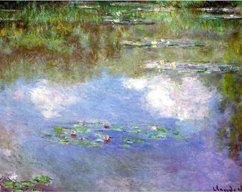 SET of TABLE semi-rigid ORIGINAL AESTHETIC WASHABLE and durable - Impressionist painters - Claude Monet - water lilies C