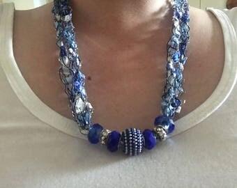 Blue Ladder Ribbon Necklace, Ribbon Yarn Necklace, Blue Necklace, Crochet Necklace, Trellis Necklace, Homemade Necklace