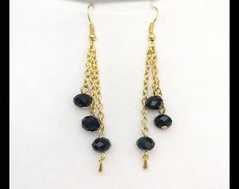 """Earrings """"Crystal"""" black"""