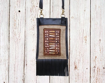 Shoulder bag ethnic chic in inner tube recycled and Pearl ethnic bib