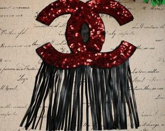 Emblem Patch Sequin Iron On Patch Black Patch CC Patch Sequin Patch CC Special Design Custom Made