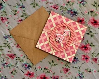 Baby Girl Pink Giraffe Card