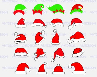 Santa hat SVG, Santa hat Christmas SVG, Santa hat clipart, Santa hat files for design, files download, eps, png, jpg, svg