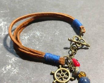 Camel Suede/Royal Cotton Toggle Bracelet