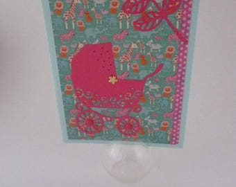 scrapbooking for girl handmade birth card.