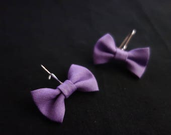 Earrings purple Violet fabric bows