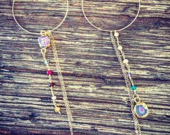 Golden Druzy Hoop Earings