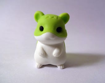 Kawaii miniature green hamster Eraser