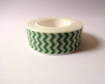 Washi tape-zig zag green - masking tape - Scrapbook - embellishment