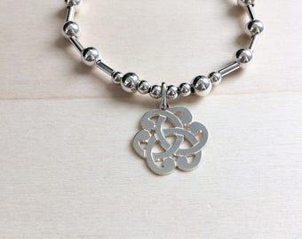 Bracelet arabesque medal / 925 sterling silver beads