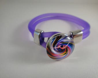 New: Bracelet in neon purple burna for interchangeable snap Chunk of 18 to 25mm