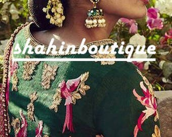 Handmade Rajasthani Green Traditional Indian thread work silk saree Blouse