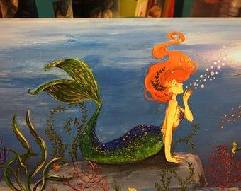 Mermaid/Sea Life Hand Painted Mailbox