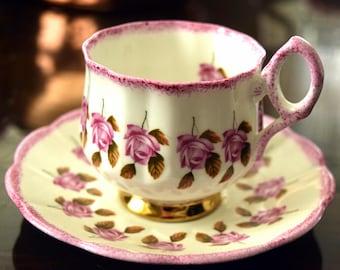 ROSINA Pink Roses Tea Cup Set Vintage 1950's Rosina English Bone China #5641