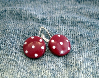 Burgundy Red earrings with white polka dots