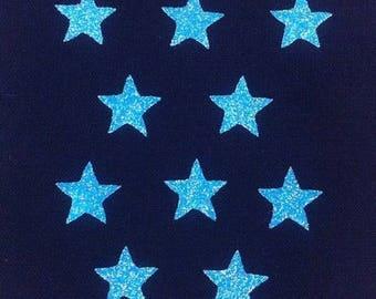 10 stars hot-melt neon blue glitter 15x15mm