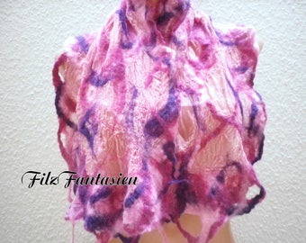 Nuno felted scarf, silk hand dyed, scarf in pink and purple, Hårruller