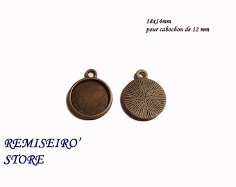 Set of 2 bronze pendant for cabochon 12mm