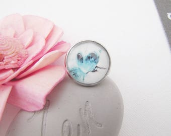 Ring adjustable blue white heart glass Cabochon silver Metal ♥ ♥