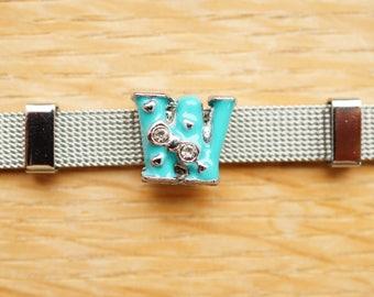 bead letter width bow light blue W alphabet for bracelet