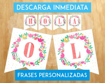 FLAGS for printable party, floral flags / for her rectangular / customizable/printable PHRASES in Digital Home/archive /