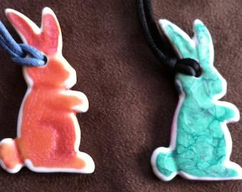 Limoges porcelain rabbit shaped pendants