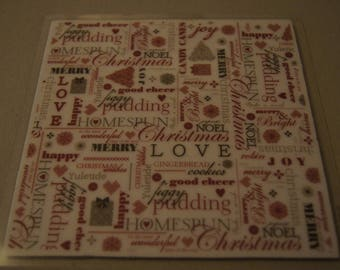BOARD 16 X 16 CM STAMPS TO BE GONE UP CHRISTMAS - TEXT BACKGROUND