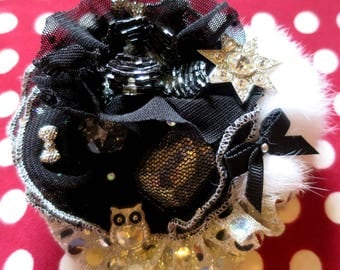 """Shabby Chic """"Ice fairy"""" sparkling jeweled brooch is Pompom snow"""