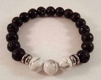 Gemstone bracelet for him made of lava, magnesite and stainless steel