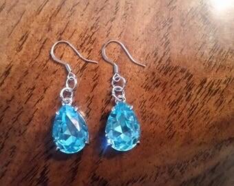 Hand made, one of a kind blue earrings