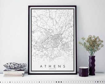 Athens Map, Minimalist Map Print, Minimal Map, Athens Poster, Modern Map Print, Modern map art poster in size 50x70cm fits Ikea frame