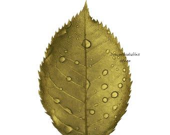 Gold leaf wall art. Green leaf poster. Four JPG files. Printable wall art. Print poster. Trending gold wall art.
