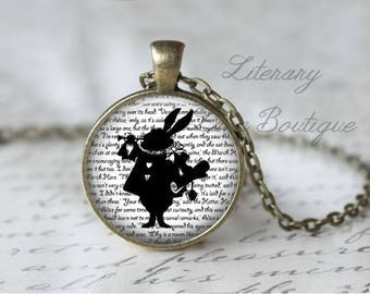Alice in Wonderland, White Rabbit Silhouette, Lewis Carroll Necklace or Keyring, Keychain.