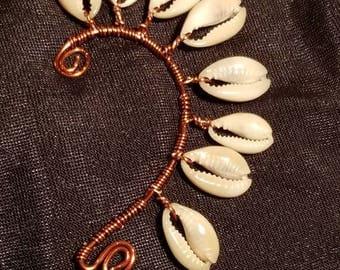 Copper Cowrie shell earrings